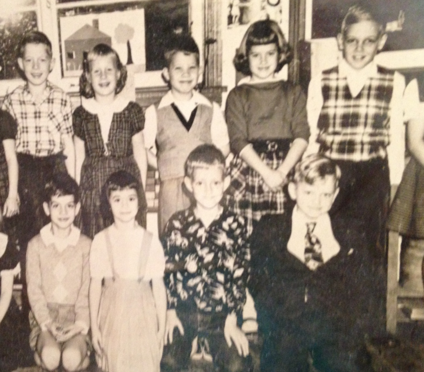 The author (top right) and Little Ricky (bottom left) in second grade