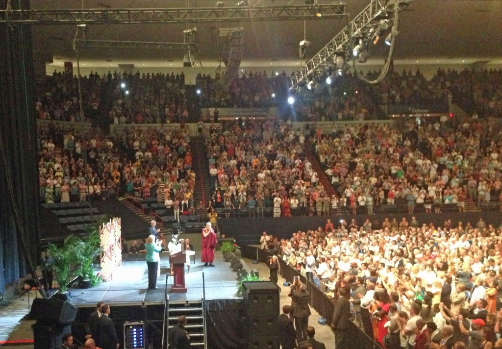 Senator Mary Landrieu introduces the Dalai Lama to a standing-room-only crowd at the Lakefront Arena Saturday.