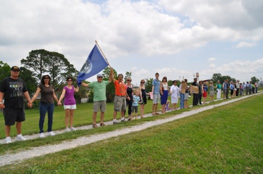 In New Orleans, it was 'hands across the levee' on Saturday.