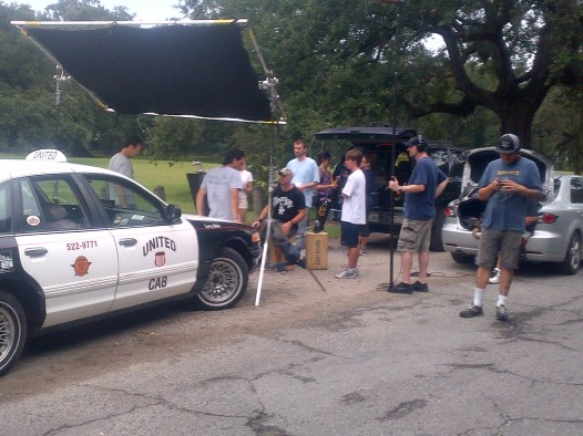 Setting up the shot in Audubon Park