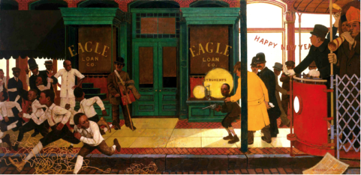 George Schmidt's painting of 'The Arrest of Louis Armstrong' belongs to local writer Randy Fertel, author of 'The Gorilla Man and the Empress of Steak'; read about it here.