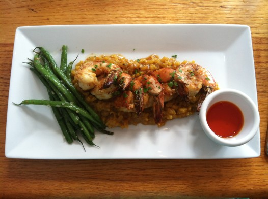 Shrimp and Risotto Milanese at Baie Rouge