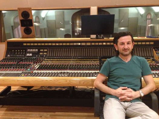 Esplanade Studios founder and chief engineer Misha Kachkachishvili in front of the Trident TSM mixing board.