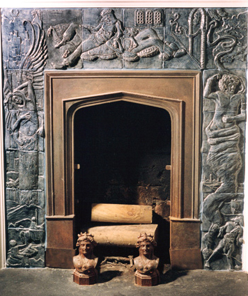 A fireplace Faust carved