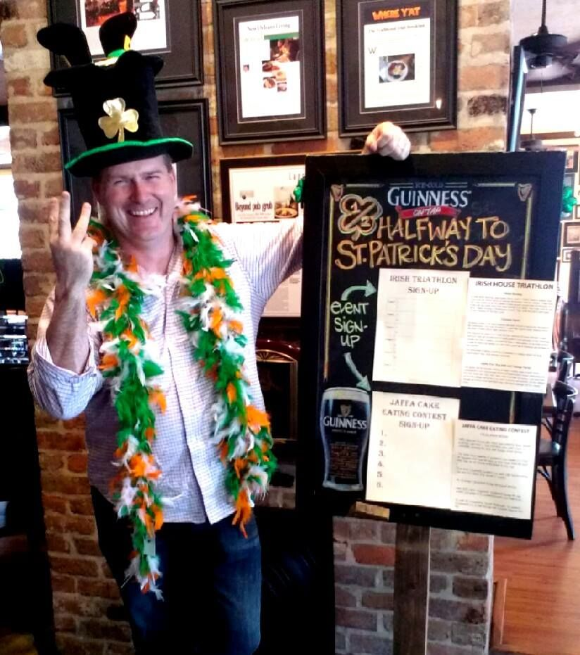 """Sign up at The Irish House to participate in their """"Halfway to Saint Patrick's Day"""" triathlon."""
