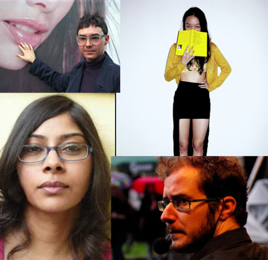 Four writers will present their work at an International Happy Hour Salon. Clockwise, from top left: Dmitry Golynko (Russia), Amanda Lee Koe (Singapore), Dénes Krusovszky (Hungary), Sridala Swami (India)