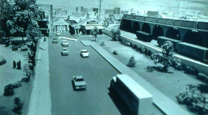 A mockup of the Riverfront Expressway