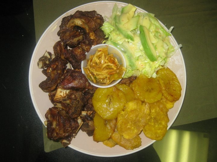 Fried beef, fried plantains, and a Caribbean salad from Taste of the Caribbean