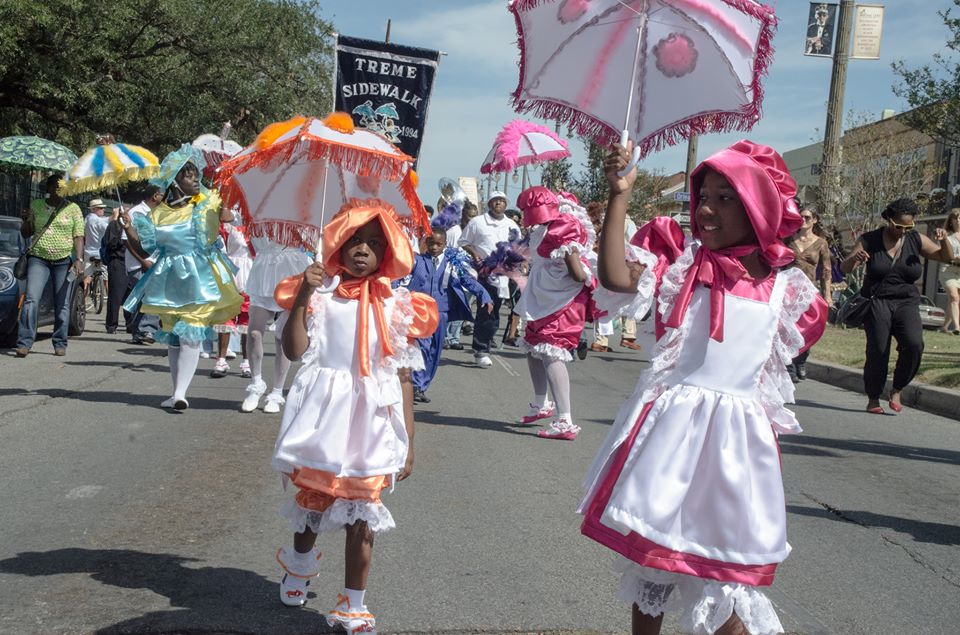 Young female steppers in the Tremé United All-Women Second Line