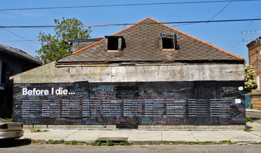 The original Before I Die Wall in the Marigny
