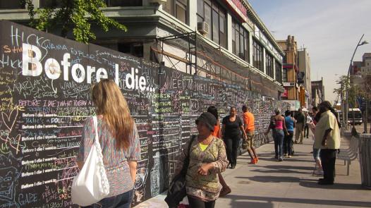 The Before I Die wall in Brooklyn, near the Shake Shack