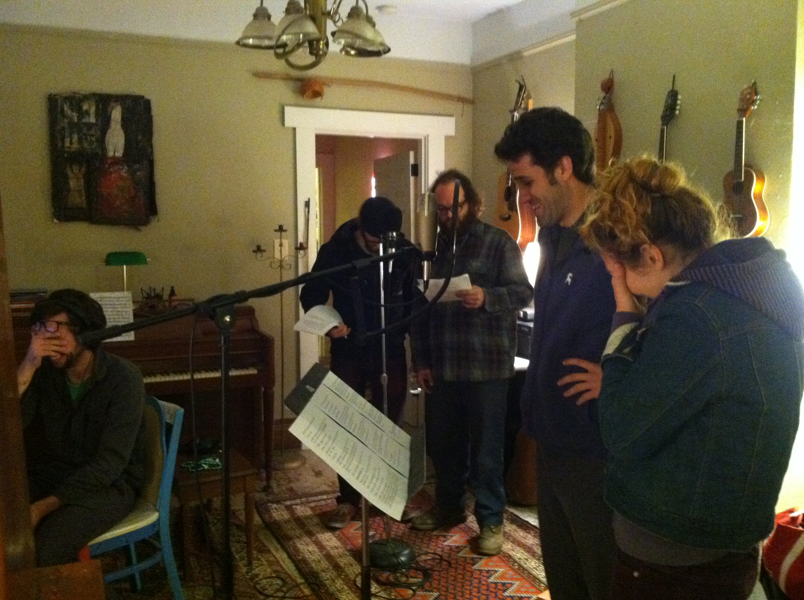 Behind the scenes, recording episode two: (from left): Kyle Sheehan, Dylan Hunter, Andy Vaught, Chris Kaminstein, Aurora Nealand.