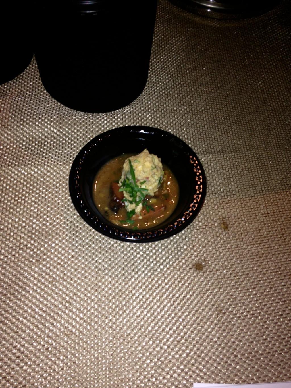 smoked pork and andouille gumbo, creole potato salad