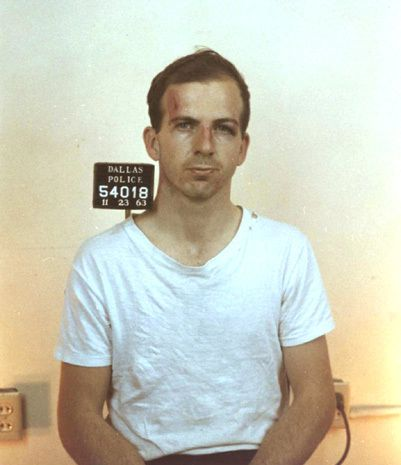 Lee Harvey Oswald, taken at Dallas Police Headquarters November 23, 1963.