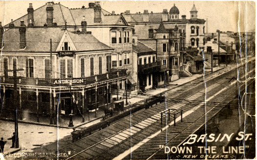 This 1908 postcard shows the rail lines on Basin street which carried visitors into the heart of Storyville, New Orleans's vice district