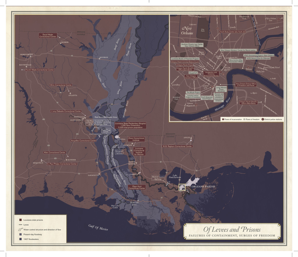 """The map """"Of Levees and Prisons: Failures of Containment; Surges of Freedom"""" was conceived by Rebecca Solnit, Rebecca Snedeker and Lydia Pelot-Hobbs, and is accompanied by Pelot-Hobbs's essay """"Lockdown Town."""" The final version, designed by Lia Tjandra, was based on Shizue Seigel's cartography."""