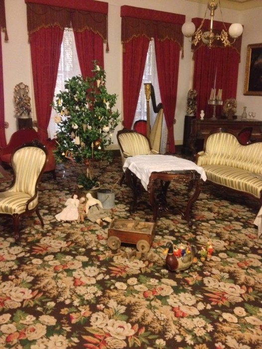 The interior of the 1850 house, decorated for the holidays.