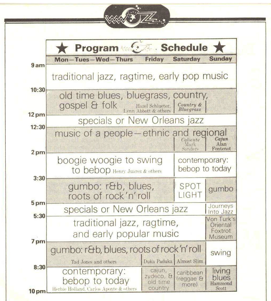 An early WWOZ programming schedule from 1981 when the station only broadcast 9am-10pm