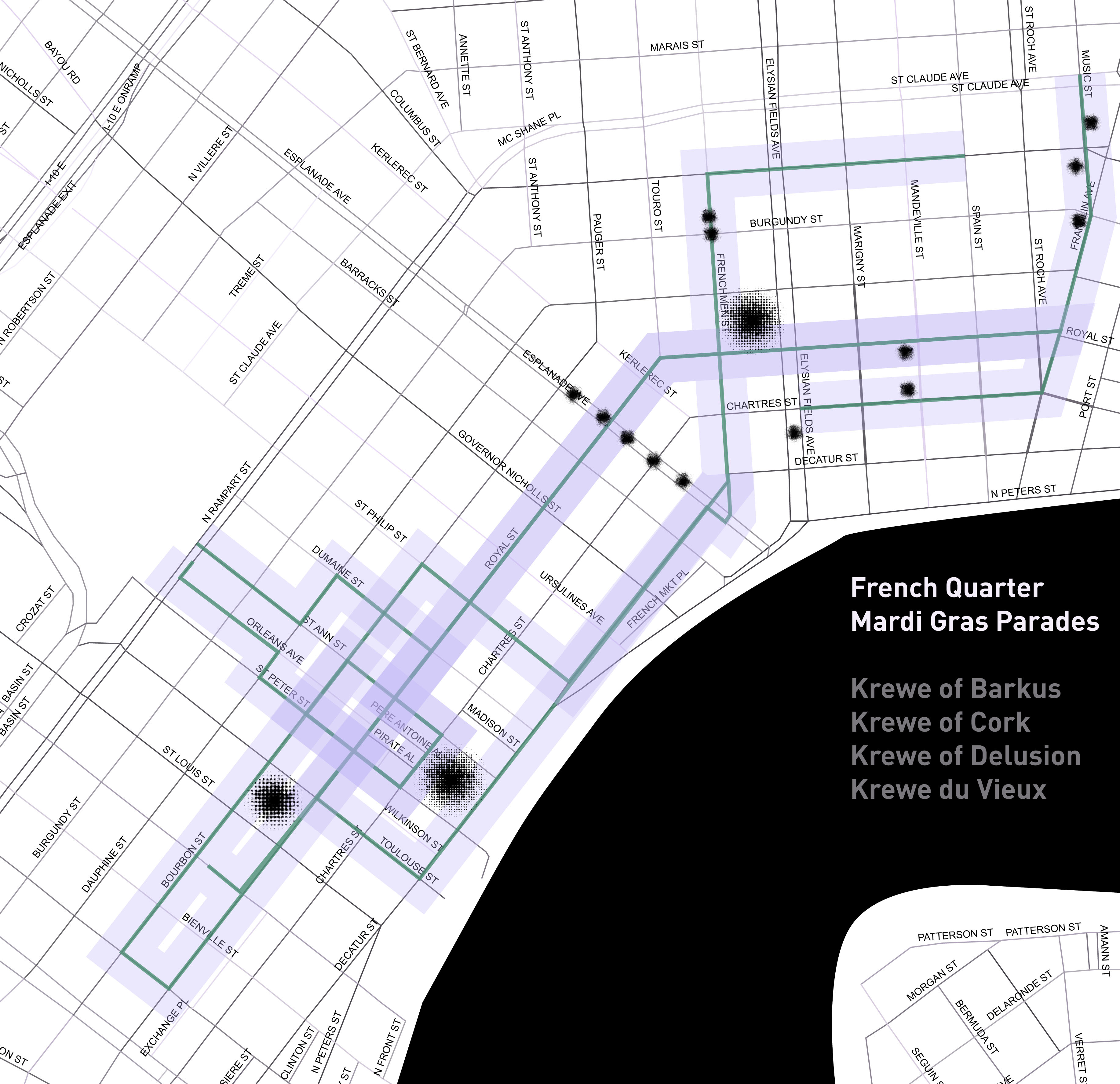 An early rendering of the parade routes in the French Quarter, with trees