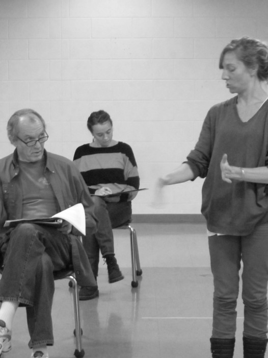 """company members Jim Wright, Shannon Flaherty, and Emilie Whelan during rehearsal for """"Under Milkwood"""""""