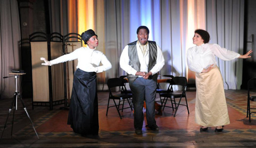 """Kate Chopin's """"An Embarrassing Position"""" performed by the 9th Ward Opera Company at the Marigny Opera House. From left: Toni Skidmore, Dedrian Hogan, and Amanda McCarthy."""