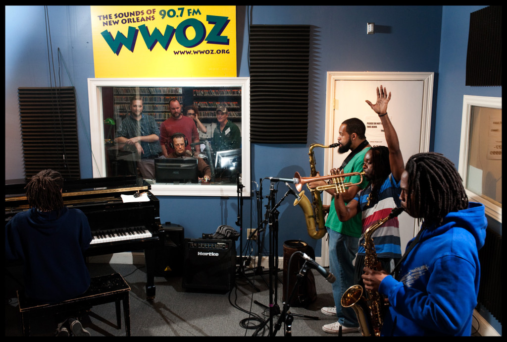 Trumpeter Mario Abney and his band playing in the studio during the recent (Fall) pledge drive. Photo by Ryan Hodgson-Rigsbee rhrphoto.com