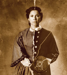 In the documentary Rebel, actress Romi Dias portrays Loreta Velazquez as a woman at left, and passing as Civil War Lt. Harry T. Buford on the right. (Photo by Gerard Gaskin)