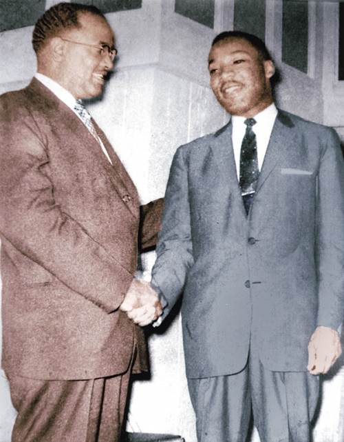 Rev. T.J. Jemison (left) shakes hands with the Rev. Martin Luther King.  Jemison's leadership during the 1953 Baton Rouge bus boycott served as a model for King's spearheading of the more publicized Montgomery, Alabama bus boycott of 1955.  Credit: Ernest Richie, 1953