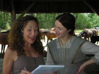 "Francine Segal on set for ""Abraham Lincoln: Vampire Hunter"" with Robin McLeavy, who played young Abraham Lincoln's mother. She is a classically trained, Australian actress, who learned a southern Virginian dialect."