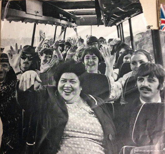 Aunt Jessie Robinson with the Fab Four in Magical Mystery Tour' -- this photo is in the album liner.
