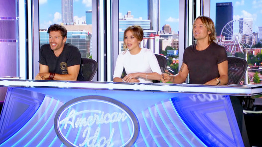 Connick with Jennifor Lopez and Keith Urban on the Idol set