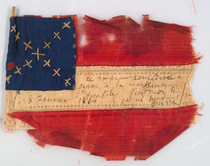Confederate flag. Silk, cotton, wood, and ink.