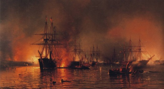 Farragut's Fleet Passing the Forts below New Orleans. Oil on canvas. Mauritz Frederik De Haas, painter.