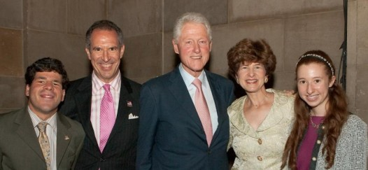 The Greenbaum family with Bill Clinton at the Making Headway benefit.