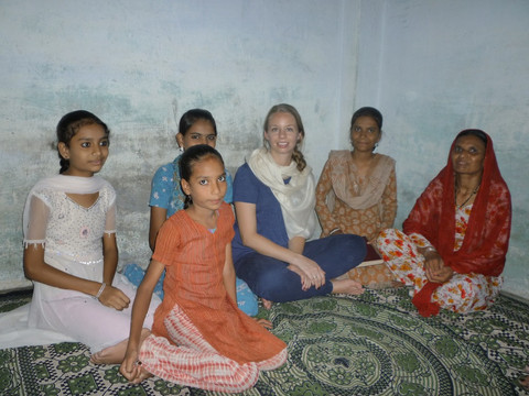 Katie (third from far right) with a group of embroidery artisans in a village outside Bhopal, India.