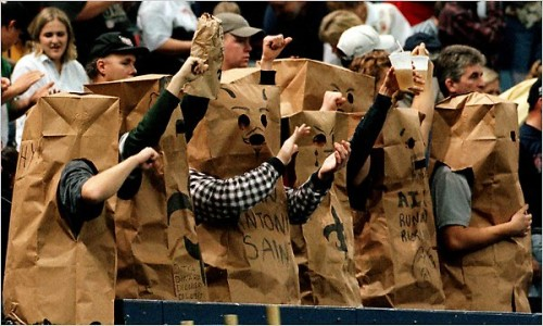 Saints fans wear paper bag outfits during a dismal season