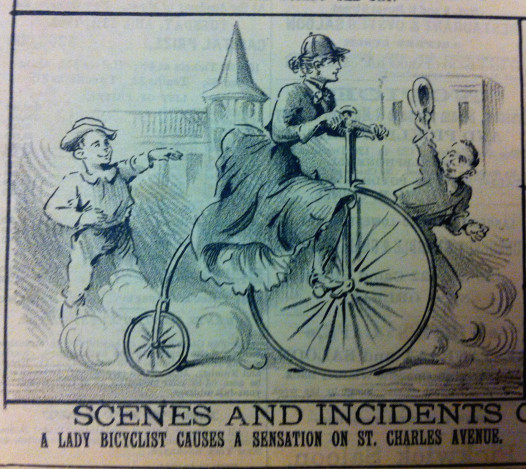 """Cartoon, """"The Mascot"""", New Orleans, 27 July 1891. """"Scenes and Incidents - A Lady Bicyclist Creates a Sensation on St. Charles Avenue""""."""