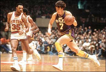 Pete Maravich wore the formally popular short basketball shorts while playing for the New Orleans Jazz in the 1970's.