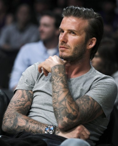 David Beckham, like many professional athletes, is covered in tattoos