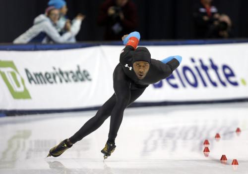 Speed skater Shani Davis competes in the 2014 Winter Olympic Games in Sochi