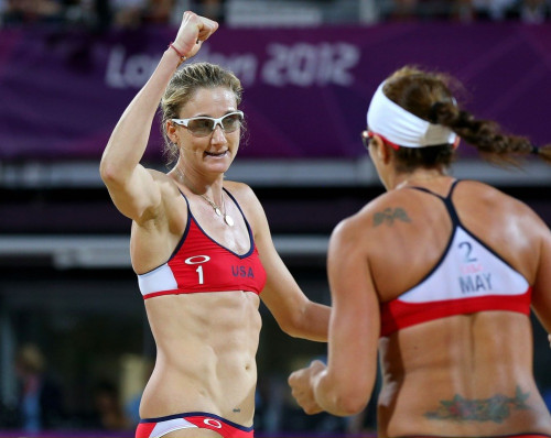 Misty May-Treanor and Kerry Walsh Jennings compete in the 2012 Olympic Games in London