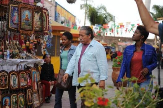 From left: LisaGay Hamilton, Edward James and Yolonda Ross shooting a scene in Mexico.