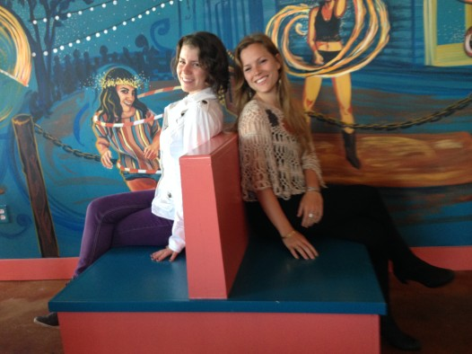 Mural artists Monica Rose and Madeleine Grace Kelly