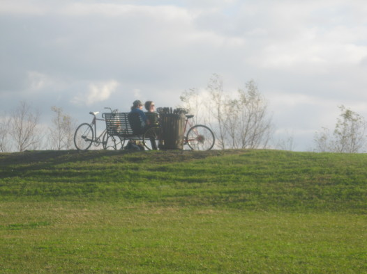 Bicyclists enjoying the view from Holy Cross.