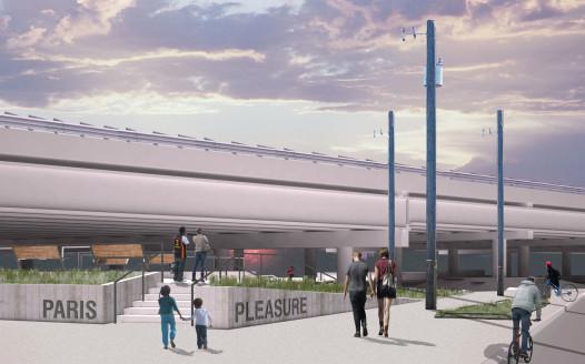 Plans for Parisite's entrance, on the Pleasure Street side. Credit Emilie Taylor / Tulane City Center