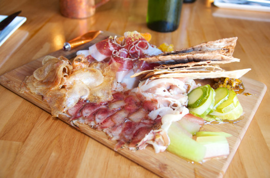The charcuterie board at Root: beef tendon and face bacon, anyone?