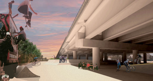 A rendering of the 'Sunny Side' section of Parisite Skate Park. Credit Emilie Taylor / Tulane City Center