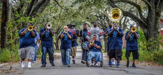 Terrell Batiste rolls with the Hot 8. 'If you ask any young brass player who they look up to, they'll say the Hot 8,' says Batiste. He certainly did.