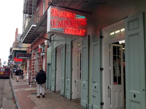 A souvenir shop in the French Quarter: balancing the booze.