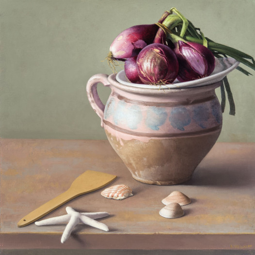 Still Life with Purple Onions and Shells